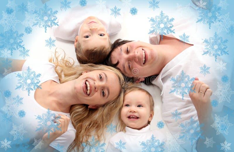 Freundliche Familie des Glückes stockbild