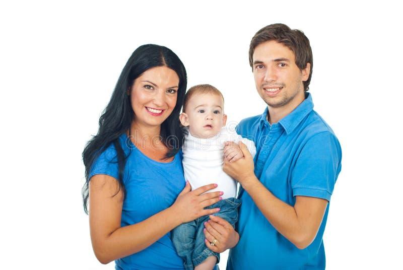 Freundliche Familie mit Baby lizenzfreies stockbild