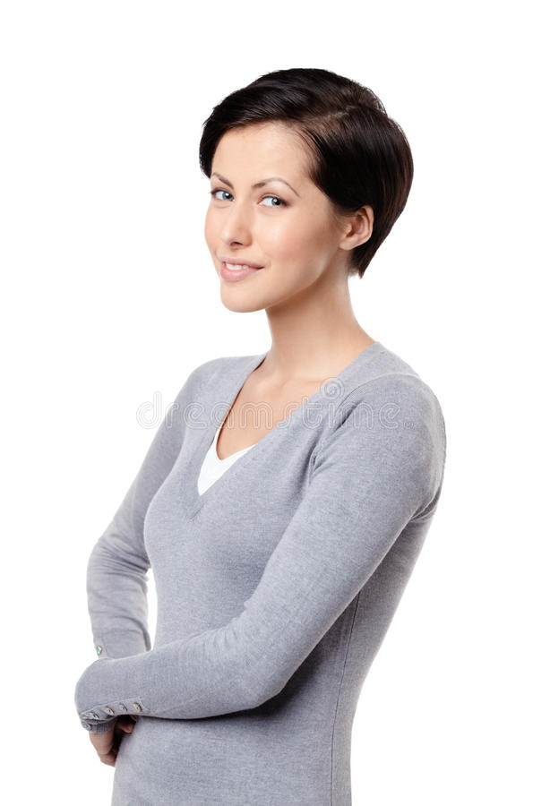 Freundliche Frau des smiley stockbild