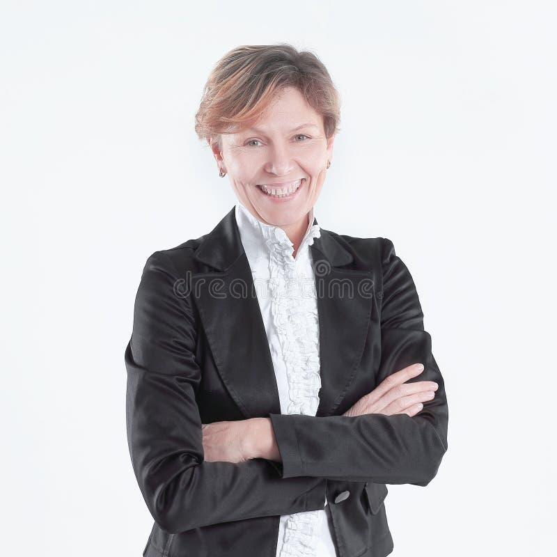 Freundliche Geschäftsfrau im Anzug Getrennt auf weißem Hintergrund lizenzfreie stockfotos