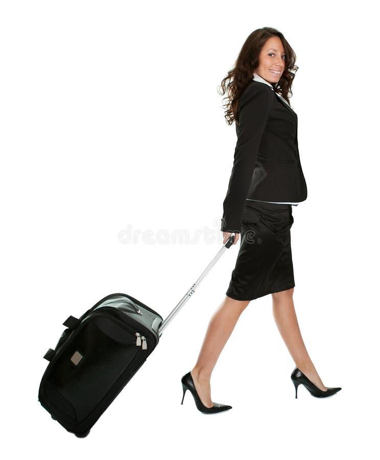 Freundliche Geschäftsfrauen mit Reisenbeutel stockfotos