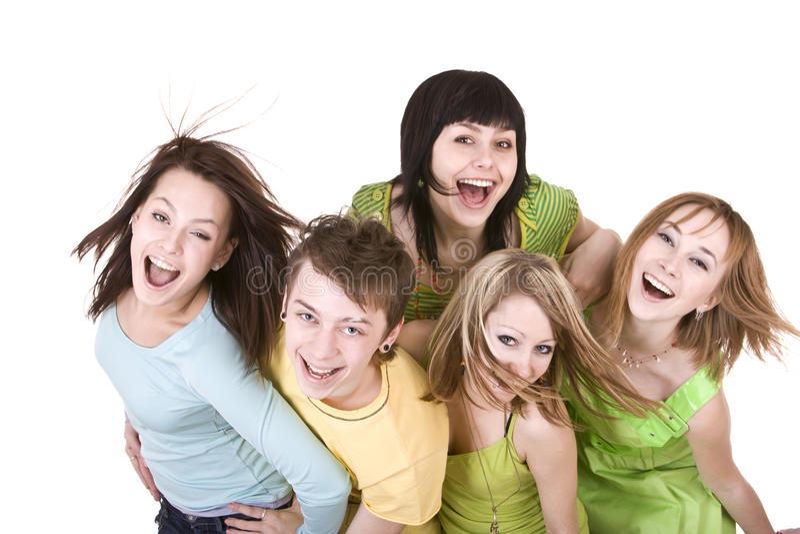 freundliche gruppe junge leute stockfoto bild von kaukasisch person 10139304