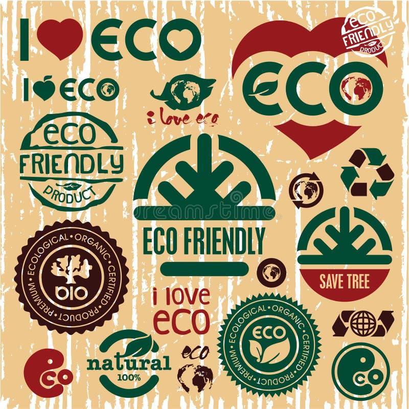 Freundliche Ikonen Eco eingestellt. Ich liebe eco. Gehen Grün. lizenzfreie abbildung