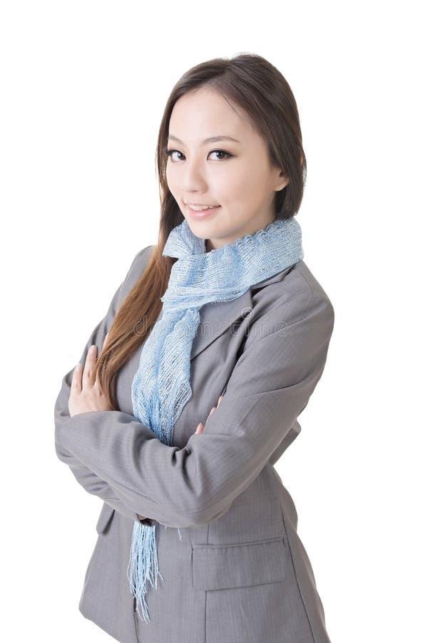 Freundliche junge Geschäftsfrau stockbild