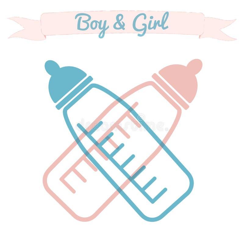 Freundliche Karte für Babyparty mit Saugflaschen vektor abbildung