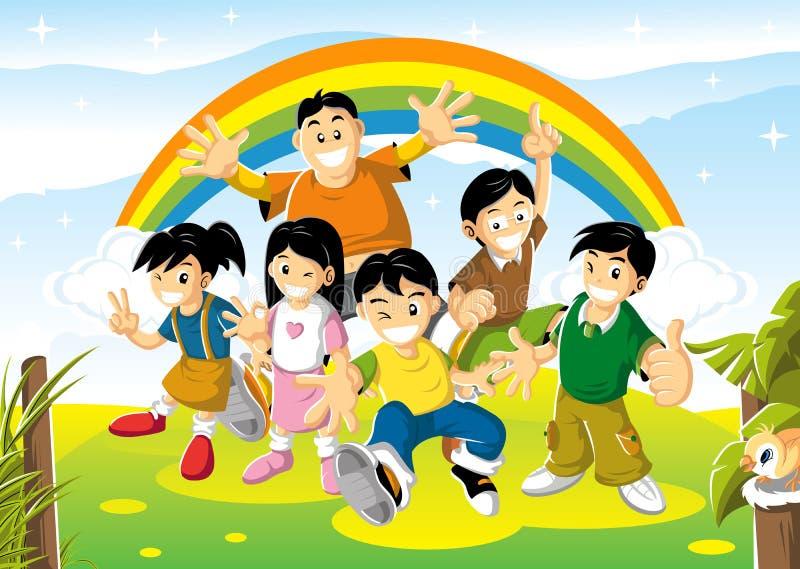 Freundliche Kinder am hellen Tag lizenzfreie stockbilder
