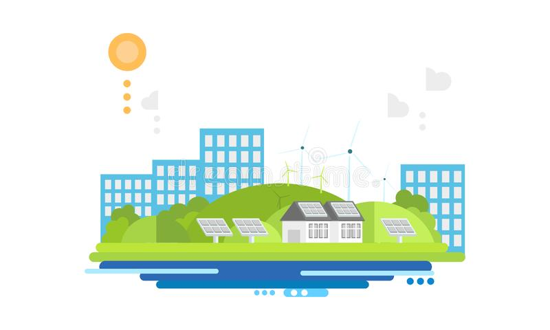 Freundliche moderne Stadt Eco, alternative Energiequellenvektor Illustration vektor abbildung