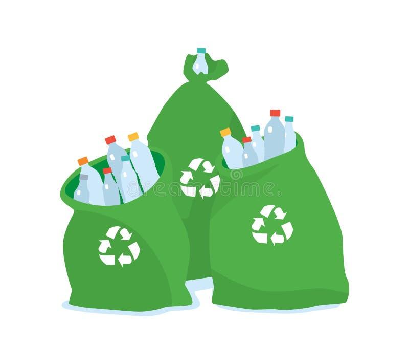 Freundliche Plastiktasche der Ökologie für die Wiederverwertung Reinigungsstadt Hausmüll lizenzfreie abbildung