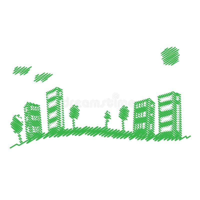 Freundliche Stadt Eco lizenzfreie abbildung