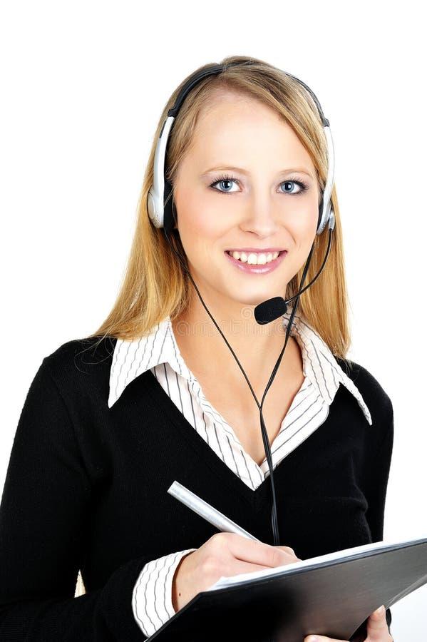 Freundlicher Abnehmer-Repräsentant mit Kopfhörer lizenzfreie stockfotografie
