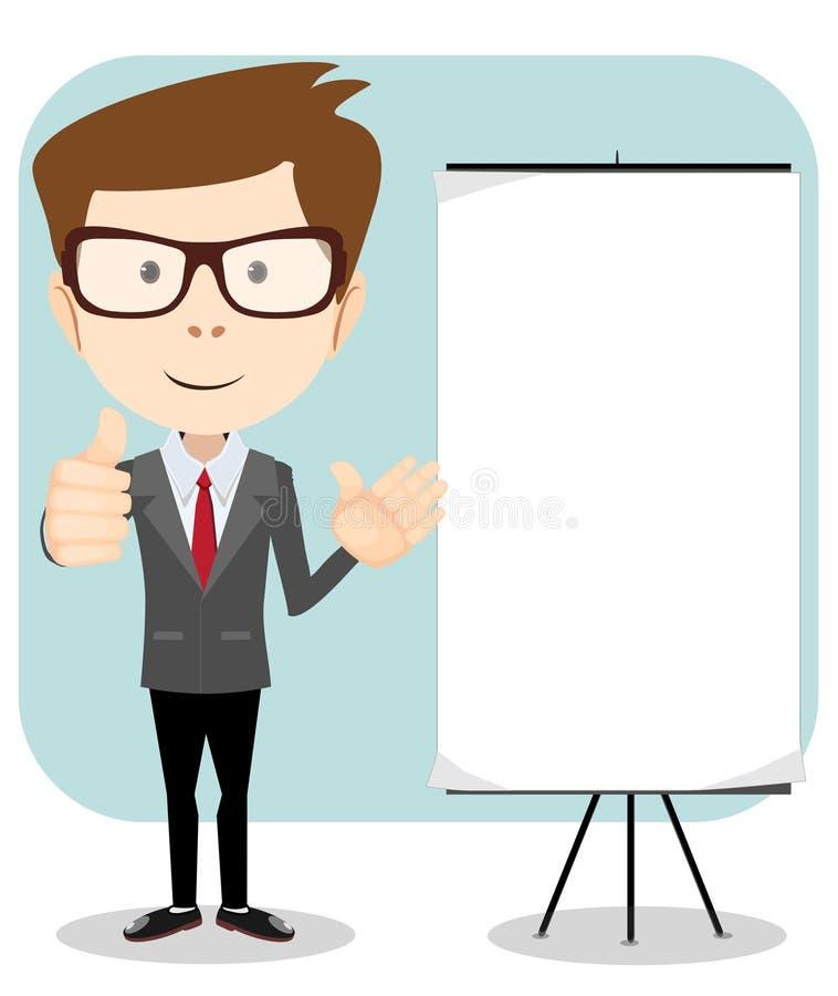 Freundlicher Geschäftsmann, zeigend auf leere Anschlagtafel stock abbildung