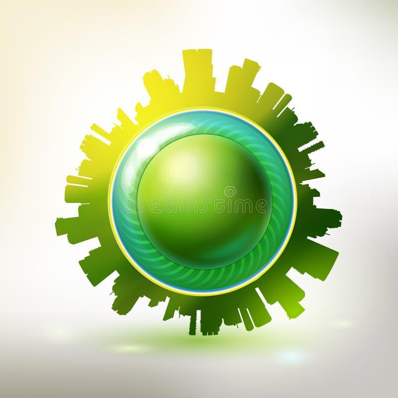 Freundlicher grüner Stadtaufkleber Eco mit Knopf lizenzfreie abbildung