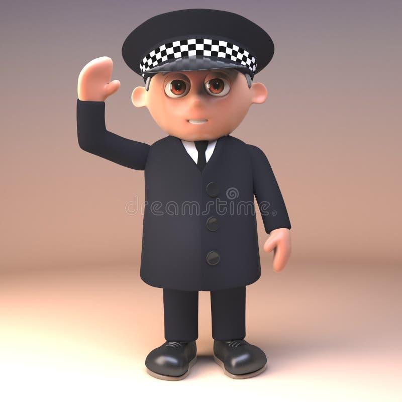 Freundlicher Polizeibeamte 3d im Dienst in den einheitlichen Wellen ein netter Gruß von hallo, Illustration 3d vektor abbildung
