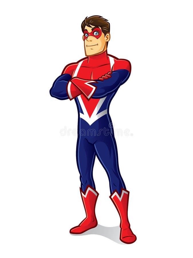 Freundlicher Superheld-Überfahrt-Arm lizenzfreie abbildung