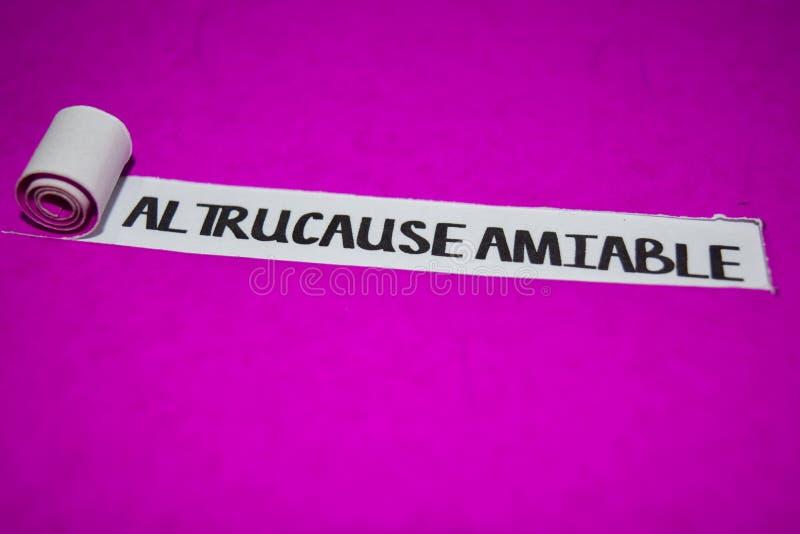 Freundlicher Text Altrucause, Inspiration und positives Schwingungenskonzept auf purpurrotem heftigem Papier stockfotos