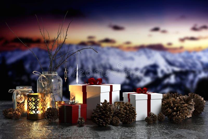 Freundliches candlelit Weihnachtsstillleben stock abbildung