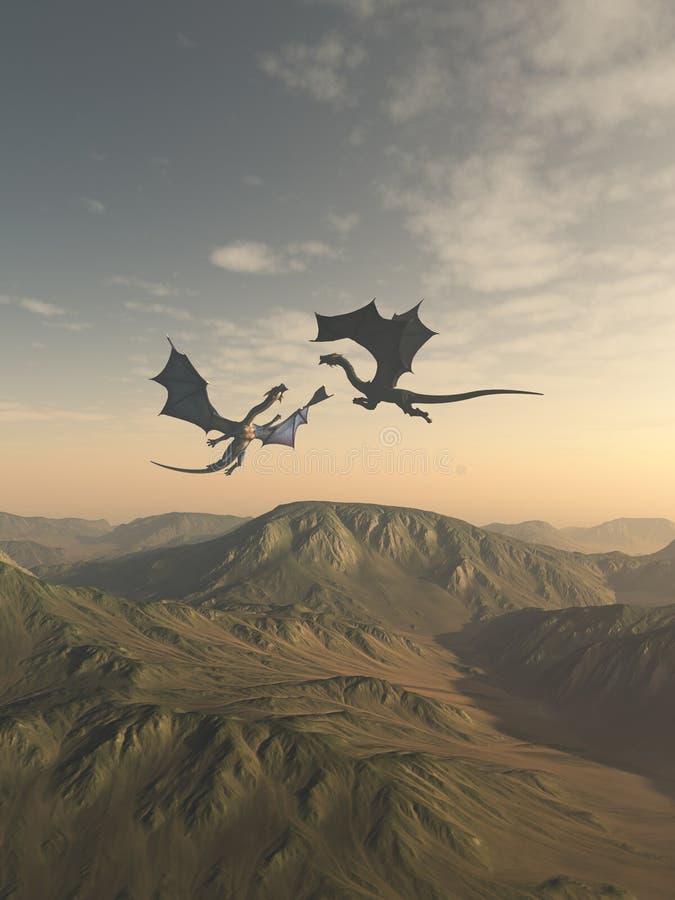 Freundliches Dragon Companions Flying über einer Berglandschaft lizenzfreie abbildung