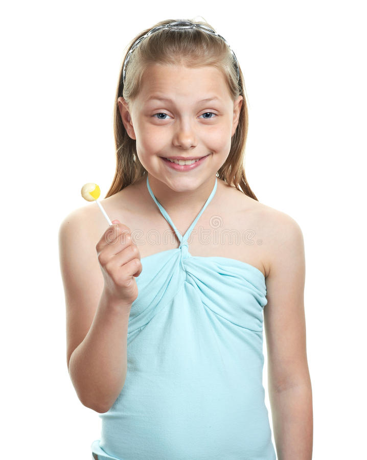 Freundliches kleines Mädchen mit Lutscher stockfotos