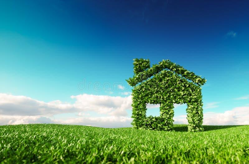 Freundliches lebendes Konzept Eco Wiedergabe 3d der Ikone des grünen Hauses an vektor abbildung