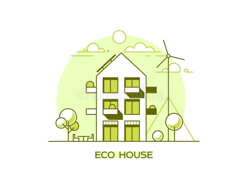 Freundliches modernes Haus Eco Grüne Architektur Sonnenkollektor, Windkraftanlage, grünes Dach Auch im corel abgehobenen Betrag vektor abbildung