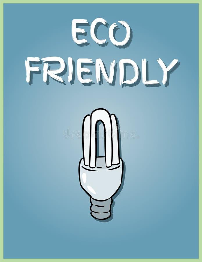Freundliches Plakat Eco Wirtschaftliches Glühlampebild Speichernde Glühlampeillustration stock abbildung