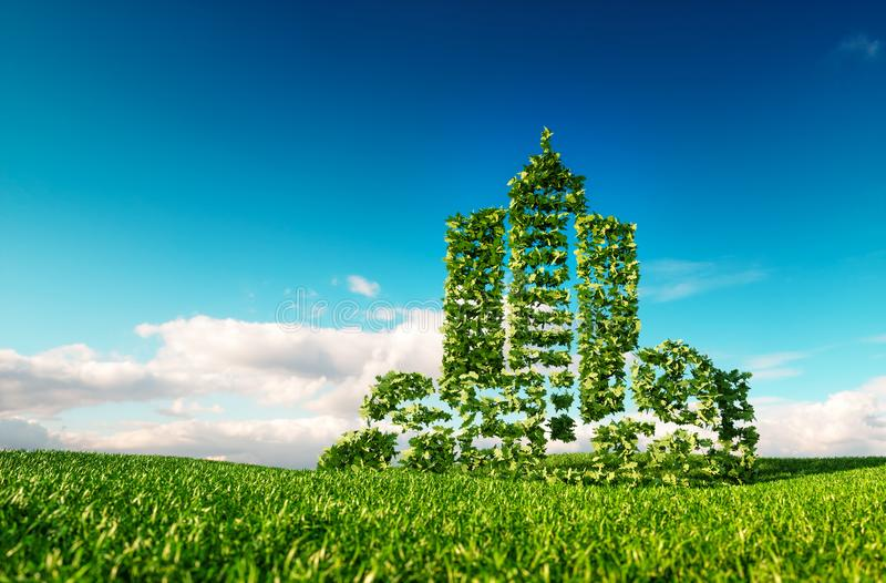 Freundliches Stadtkonzept Eco Wiedergabe 3d des Stadtformzeichens auf Franc lizenzfreie abbildung
