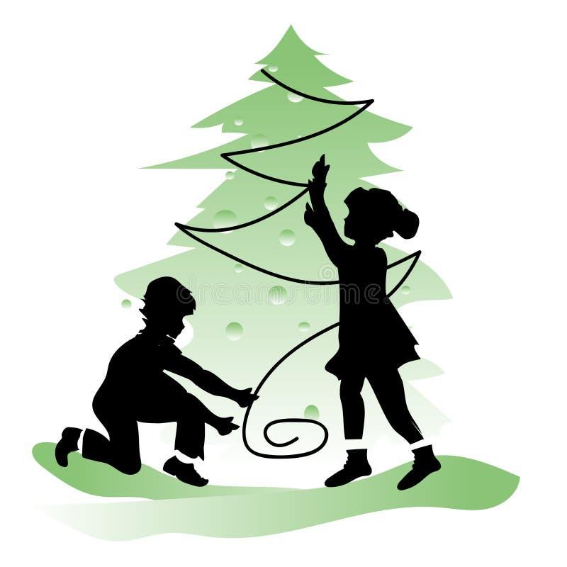 Freundschaft der Kinder Junge und Mädchen im Weihnachten lizenzfreie abbildung