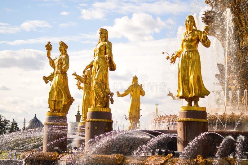 Freundschaft des Nationsbrunnens bei VDNKh stockbild