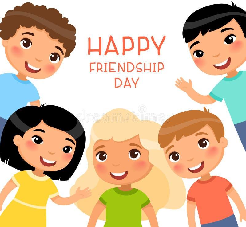 Freundschafts-Tagesquadratisches Plakat Fünf internationale Kinder in einem Rahmen lächeln und bewegen wellenartig lizenzfreie abbildung