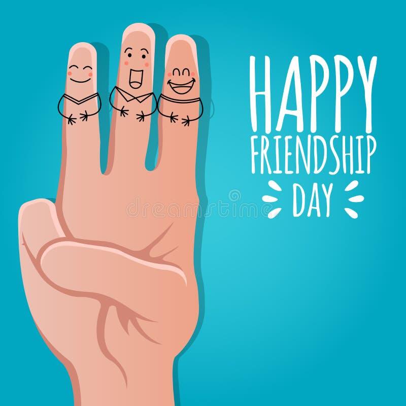 Freundschaftstageskonzept Vektorillustration mit vier lustige lächelnde Fingern auf Lager Grußkartenentwurf für glücklichen Freun lizenzfreie abbildung