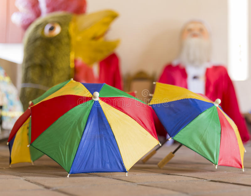 Frevo. Close-up photo of colorful little umbrellas which are the symbol of Frevo Dance in the city of Olinda and Recife during the local carnival festival stock images