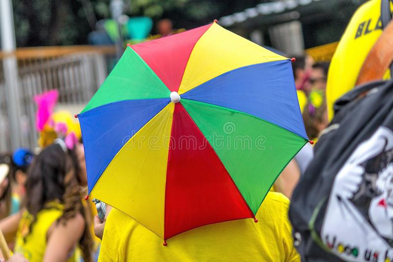 Frevo colorful rain rain. Nfrevo joy sound and laugh rim and the rain gurda colorful and small and an accessory always used in dance and the joy of frevo royalty free stock photo