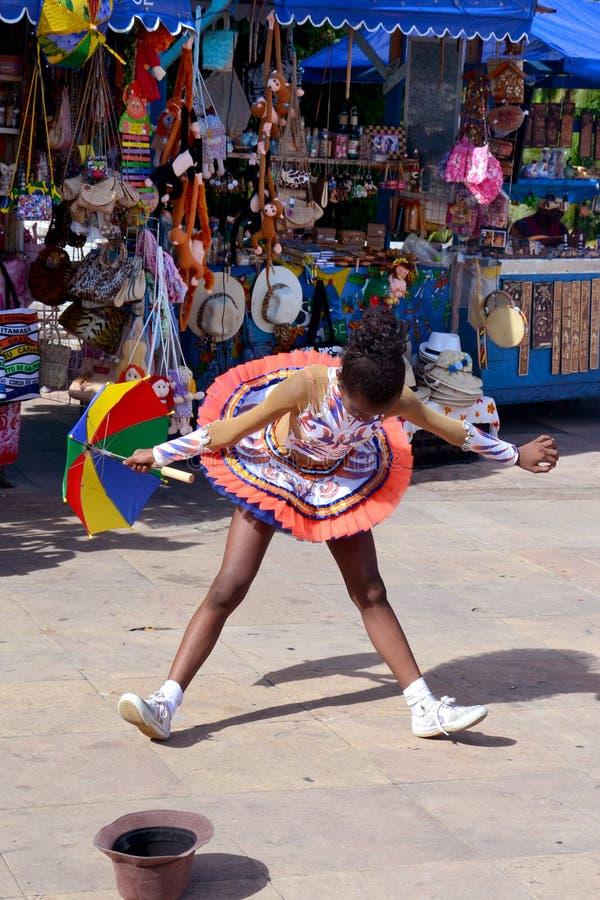 Frevo dancer. Girl in Recife, Brazil stock photography