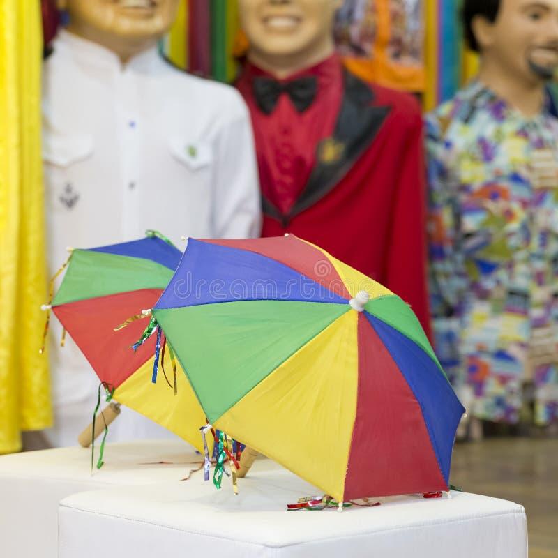 Frevo. The symbol of Frevo, the colorful little umbrellas are the symbol of Brazilian Carnival in Olinda, PE, Brazil stock photos