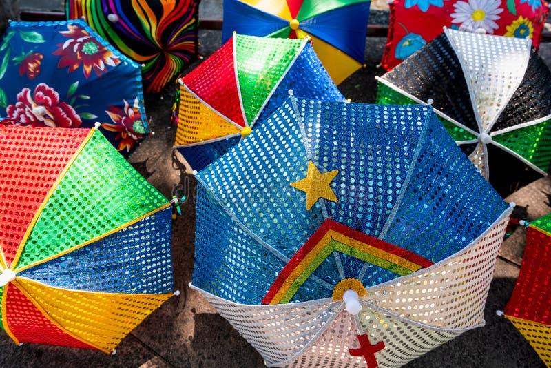 Colorful Brazilian Carnival decoration in the city of Olinda, Pernambuco, Brazil. Frevo Umbrella with Pernambuco flag, Colorful Brazilian Carnival decoration in stock photos