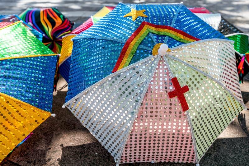 Colorful Brazilian Carnival decoration in the city of Olinda, Pernambuco, Brazil. Frevo Umbrella with Pernambuco flag, Colorful Brazilian Carnival decoration in royalty free stock photo