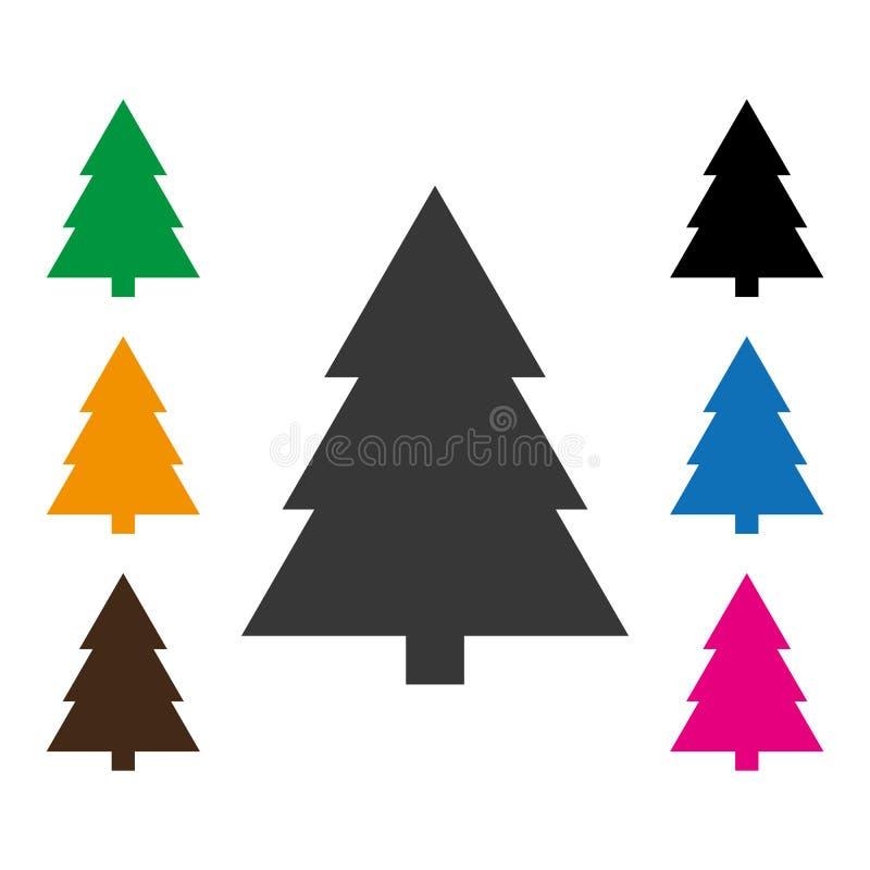 Frey mieszkania stylu conifer, świerczyna na białym tle Jedlina, Świerkowa ikona, conifer wektor eps10 royalty ilustracja