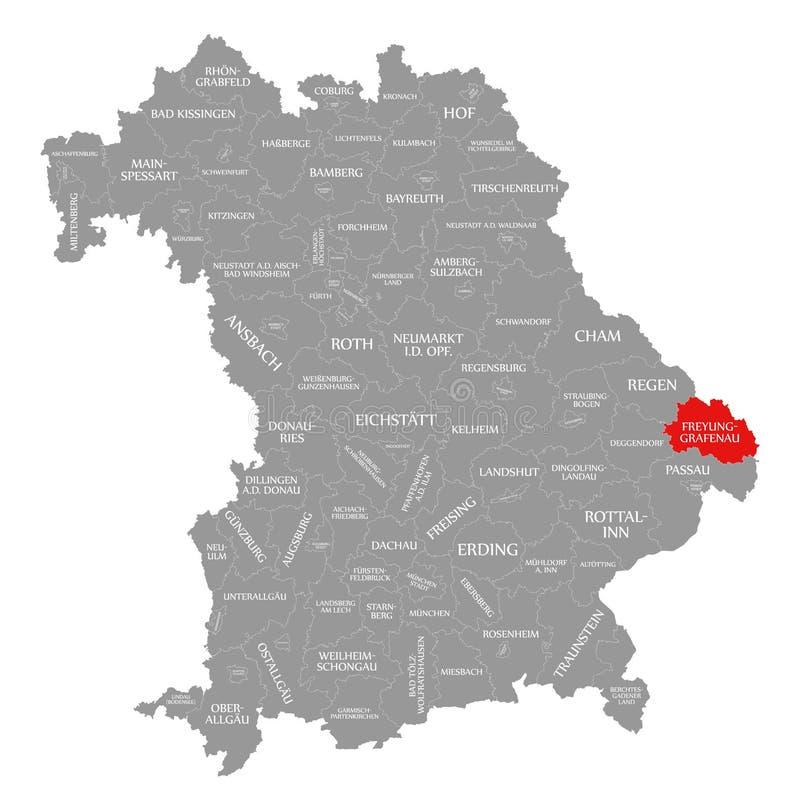 Freyung-Grafenau okręgu administracyjnego czerwień podkreślająca w mapie Bavaria Niemcy royalty ilustracja