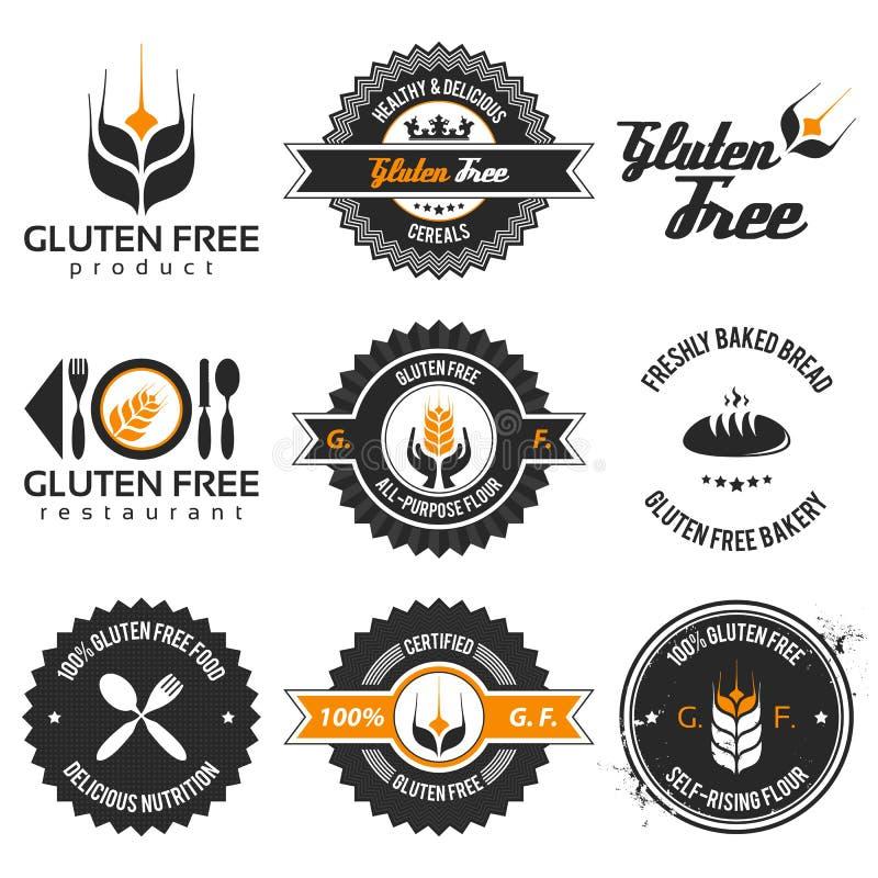 Fri etikettuppsättning för gluten stock illustrationer