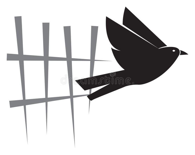 Fri fågel för oberoende personbegreppslogo royaltyfri illustrationer
