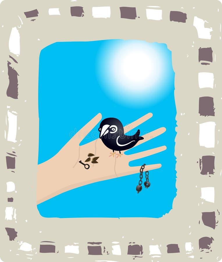 fri frihet för fågelmat little stock illustrationer