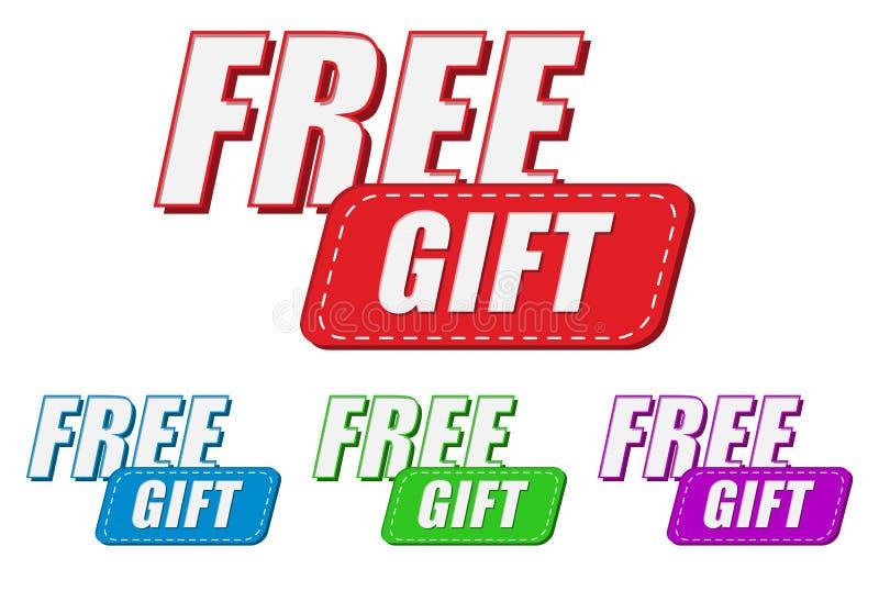 Fri gåva, fyra färgetiketter stock illustrationer