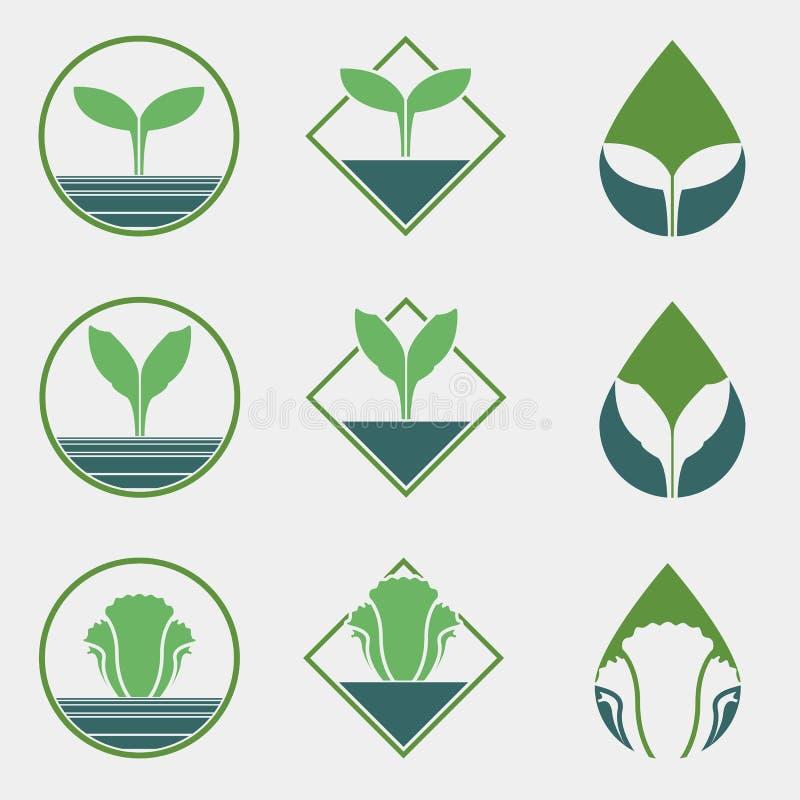 Fri grönsaklogo för kemikalie vektor illustrationer