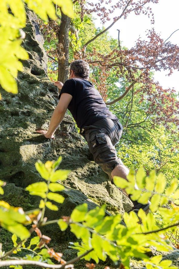 Fri klättrare i anglosaxaren Schweiz royaltyfri bild