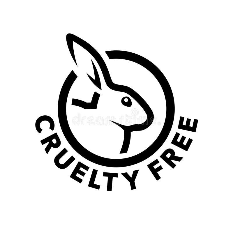 Fri logodesign för grymhet med kaninsymbol stock illustrationer