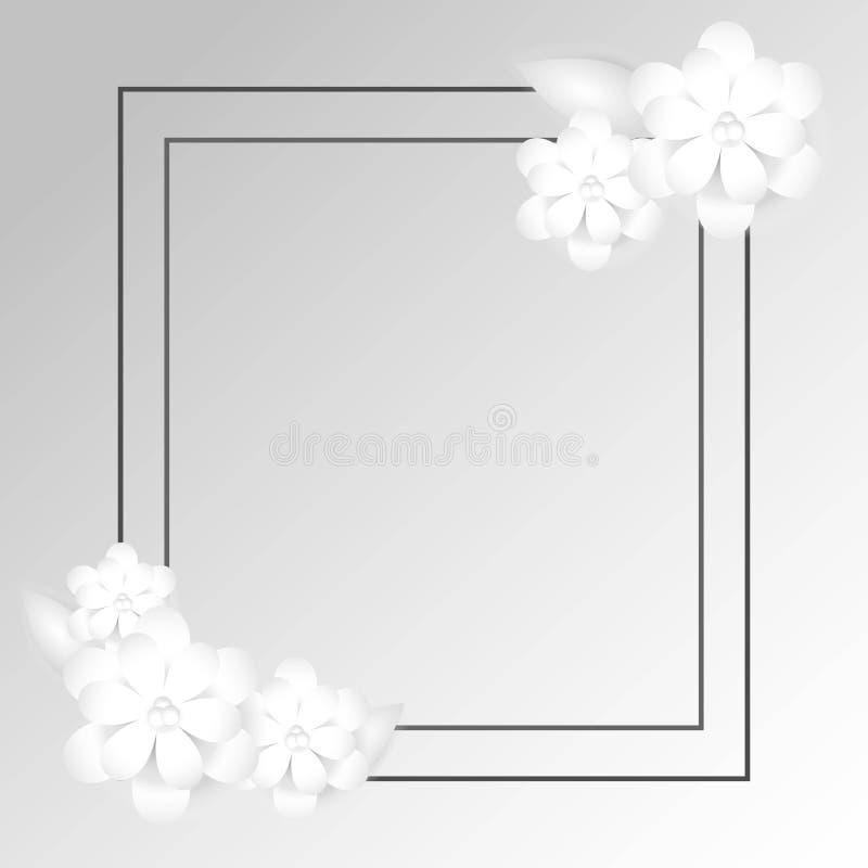 Fri rektangulär ram med ordning för pappers- blomma vektor illustrationer
