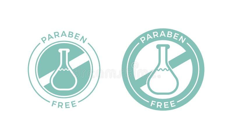 Fri sund kosmetisk vektoretikett för Paraben stock illustrationer