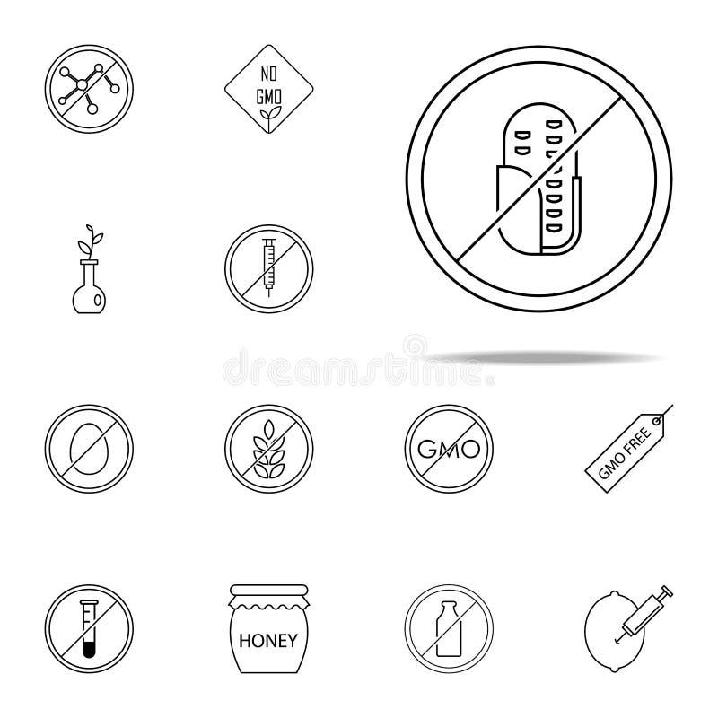 Fri symbol för havre Universell uppsättning för GMO symboler för rengöringsduk och mobil stock illustrationer