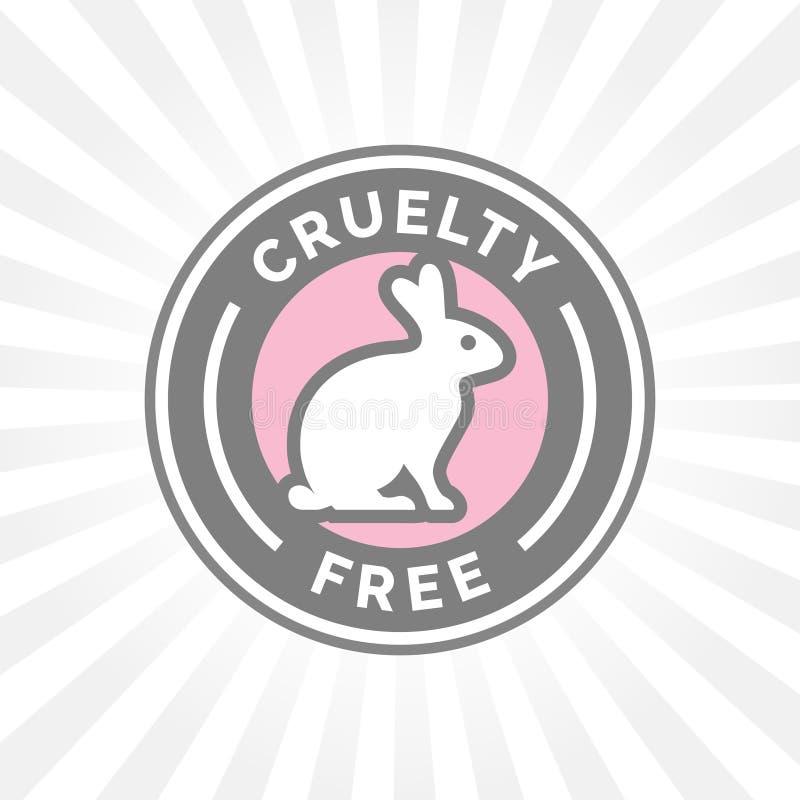 Fri symbolsdesign för djur grymhet med symbol för kaninvektoremblem stock illustrationer