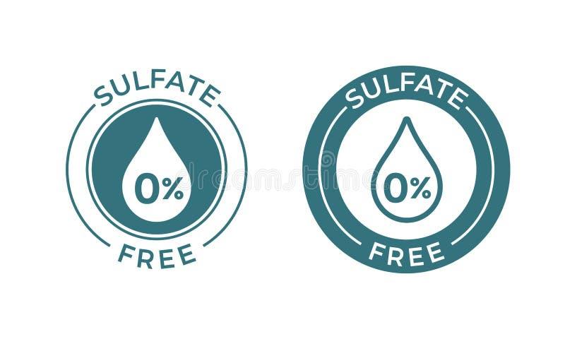 Fri vektorsymbol för sulfat Etiketten för produkten för den vektornatrium och sulfatet tappar den fria, 0 procent skyddsremsa stock illustrationer